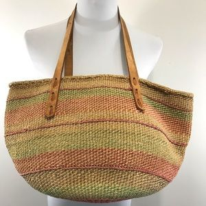 Vintage jute grass tote leather handles